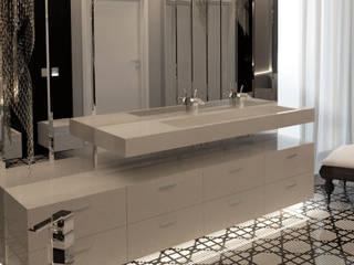Łazienka w stylu glamour z umywalką na wymiar. Nowoczesna łazienka od Luxum Nowoczesny