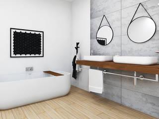 Duża, elegancka łazienka z wanną wolnostojącą. Nowoczesna łazienka od Luxum Nowoczesny