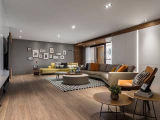取景.生活敞域 现代客厅設計點子、靈感 & 圖片 根據 拾葉 建築室內設計 現代風