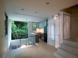 掀開地窖的樓地板,挑空對流,亦鑿除面向山坡的外牆,大小開口攜入天光、綠影,融入室外濃蔭的樹景。:  走廊 & 玄關 by 本晴設計