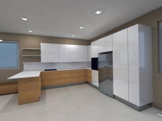 Veduta Foto-Realistica dell'arredo cucina-soggiorno:  in stile  di Studio Tecnico Resta e Associati