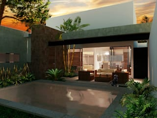 Terraza y piscina: Casas de estilo minimalista por Gamboa Arquitectos