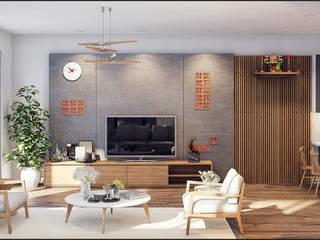 BIỆT THỰ NHÀ VƯỜN HÀ ĐÔNG:  Phòng khách by ITALIC DECOR