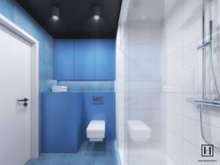 現代浴室設計點子、靈感&圖片 根據 Huk Architekci 現代風