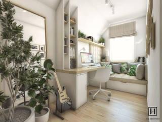 Gabinet na poddaszu / Łańcut: styl , w kategorii Domowe biuro i gabinet zaprojektowany przez Huk Architekci