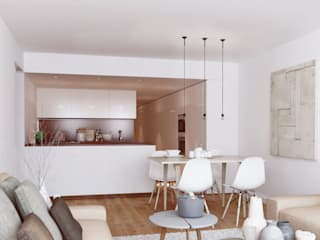 """The Closet"" - 80 m²-, Tarragona. Sala de estar-comedor-cocina. Salones de estilo moderno de GokoStudio Moderno"