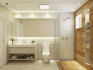 iost Arquitetura e Interiores Modern style bathrooms Ceramic Wood effect