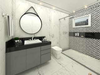 iost Arquitetura e Interiores Modern style bathrooms Stone Black