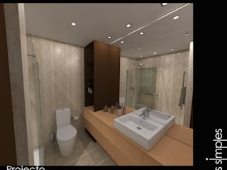 Linhas Simples Modern style bathrooms Stone