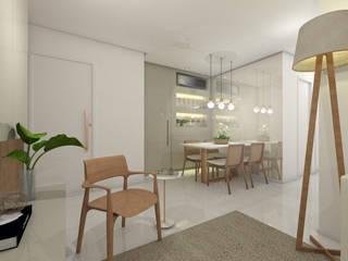 Sala de Estar e Jantar - Apartamento L+M: Salas de jantar  por Paralelo Arquitetura e Comunicação