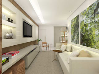 Sala de Estar e Jantar - Apartamento L+M: Salas de estar  por Paralelo Arquitetura e Comunicação