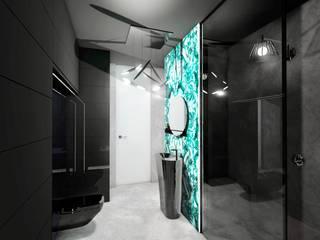 Łazienka BLACK ❤️ : styl , w kategorii Łazienka zaprojektowany przez RAMA RAMA DESIGN