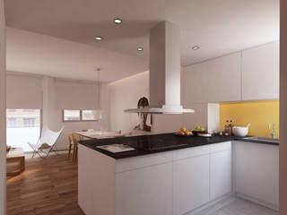 """""""The Wall"""", Gracia -80 m²-, Barcelona. Cocinas de estilo moderno de GokoStudio Moderno"""