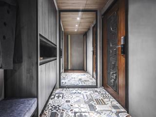 美式工業風 工業風的玄關、走廊與階梯 根據 樂沐室內設計有限公司 工業風