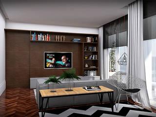 sala funcional, aconchegante e bela: Salas de estar  por NSFAZ ARQUITETURA E CONSTRUÇÃO