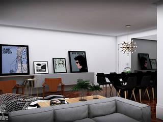 salas integradas: Salas de jantar  por NSFAZ ARQUITETURA E CONSTRUÇÃO