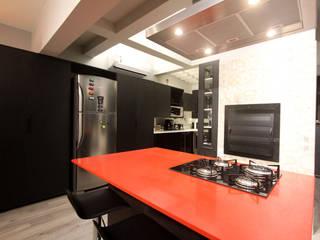 Jean Felix Arquitetura Minimalist kitchen Quartz Red