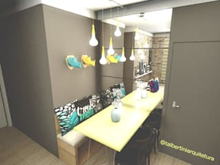 Decoração de sala de estar e jantar para apartamento pequeno:   por Thamiris Albertini Arquitetura e Interiores