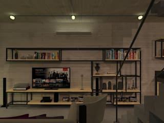 Salon de style  par Studio Escala Arquitetura e Interiores, Industriel