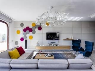 Współczesny, szlachetny i stylowy apartament Nowoczesny salon od Aleksandra Kurowska Nowoczesny