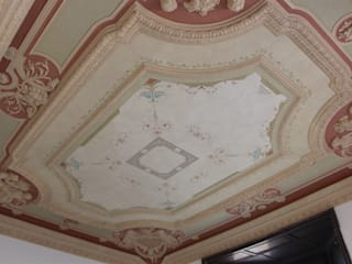 Soffitto restaurato Colori nel Tempo - decorazioni pittoriche Sala da pranzo in stile classico Argento / Oro Rosso
