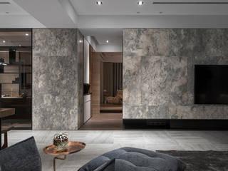 絢染.縱觀:  客廳 by 拾葉 建築室內設計