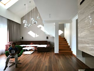 Piotr Stolarek Projektowanie Wnętrz 现代客厅設計點子、靈感 & 圖片