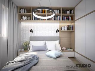 skandynawska sypialnia: styl , w kategorii Sypialnia zaprojektowany przez MIKOŁAJSKAstudio
