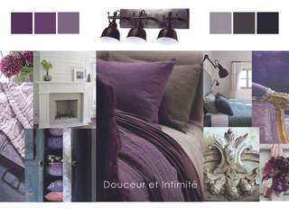 Chambre 'Campagne chic' Premières Perspectives Chambre rustique Violet