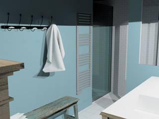 'Retro Bathroom' Premières Perspectives Salle de bain rustique Bleu
