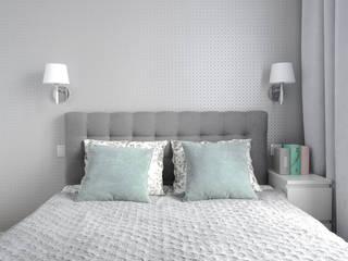 monochromatyczna sypialnia Nowoczesna sypialnia od Manekineko Nowoczesny