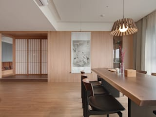 直方設計有限公司 Asian style dining room Solid Wood Beige
