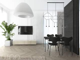 BEZ PRZESADY Nowoczesny salon od UTOO-Pracownia Architektury Wnętrz i Krajobrazu Nowoczesny