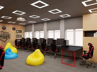 Sala gamingowa w Katowicach Nowoczesny pokój multimedialny od Agata Pozowska, architektura wnętrz Nowoczesny