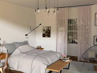 3D Quarto da Jovem -  Por Patrícia Nobre : Quartos  por Patrícia Nobre - Arquitetura de Interiores,Escandinavo