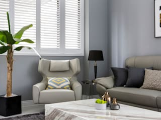 朵朵-透天 现代客厅設計點子、靈感 & 圖片 根據 齊家。空間設計 現代風