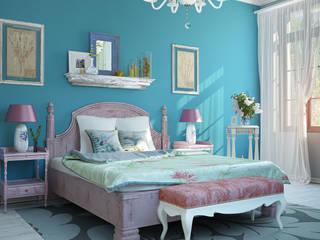 Phòng ngủ phong cách Địa Trung Hải bởi дизайн-студия ПРОСТРАНСТВО ДИЗАЙНА Địa Trung Hải