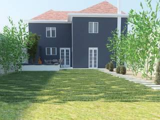 Jardim e Fachada Exterior: Casas escandinavas por Enponto