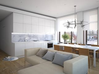 Апартаменты в Москве Кухня в стиле минимализм от background архитектурная студия Минимализм
