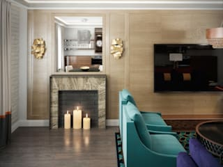 Дизайн-проект , визуализация гостиной: Гостиная в . Автор – Мария Бекетова  Света Лапина
