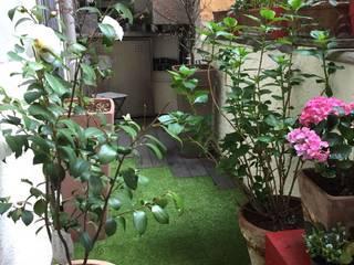 Un fresco e ombreggiato cavedio: Terrazza in stile  di federica crnjar