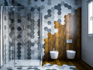 Hexagonal bathroom mcp-render Bagno moderno Legno
