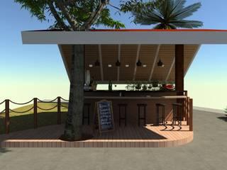 Hiên, sân thượng phong cách mộc mạc bởi N.A. ARQUITECTURA Mộc mạc