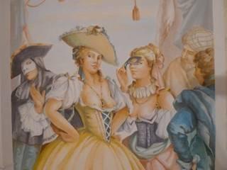 Particolare della Stanza del teatro: Camera da letto in stile  di erica de rosa, dipinti, affreschi, trompe l'oeil,  decorazioni - Venezia