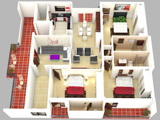 Residential-3BHK-2400sft: modern  by BNH DESIGNERS,Modern