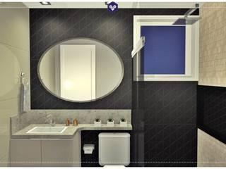 Interiores Smile 402: Banheiros  por Kestie Arquitetura