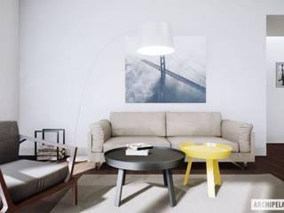 Projekt domu Daniel II G1 z wnętrzem pełnym słońca i ciepła Nowoczesny salon od Pracownia Projektowa ARCHIPELAG Nowoczesny