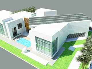 Aerial Perspective - Rear: modern Houses by Koncept Architects & Interior Designers,