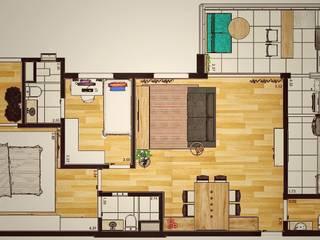 モダンな 壁&床 の Lorenza Franceschi Arquitetura e Design de Interiores モダン