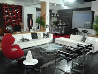 Decoración de sala y Acceso a aprtamento ERGOARQUITECTURAS FL C.A. Livings de estilo moderno Vidrio Negro